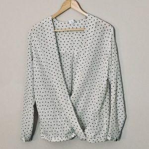 Club Monaco Silk Wrap Blouse with Polka Dots Small
